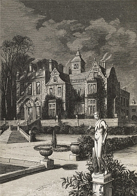 """The old family mansion, partly thrown in deep shadow, and partly lit up by the cold moonshine""—Frontispiece."